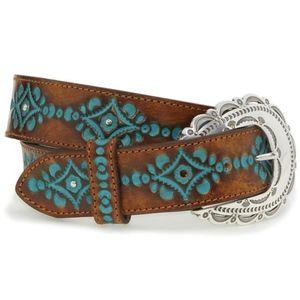 Justin Brown Turquoise Tooled Belt Medium/34